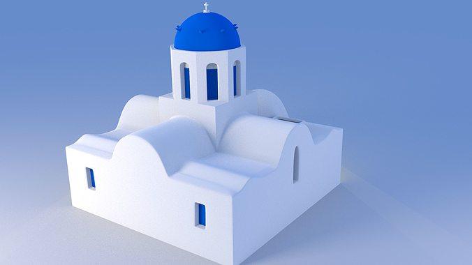 blue dome church in santorini 3d model obj 3ds fbx dxf stl blend 4
