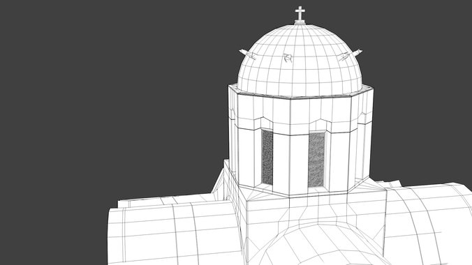 Blue dome church in Santorini 3D Model .obj .3ds .fbx .dxf .stl .blend