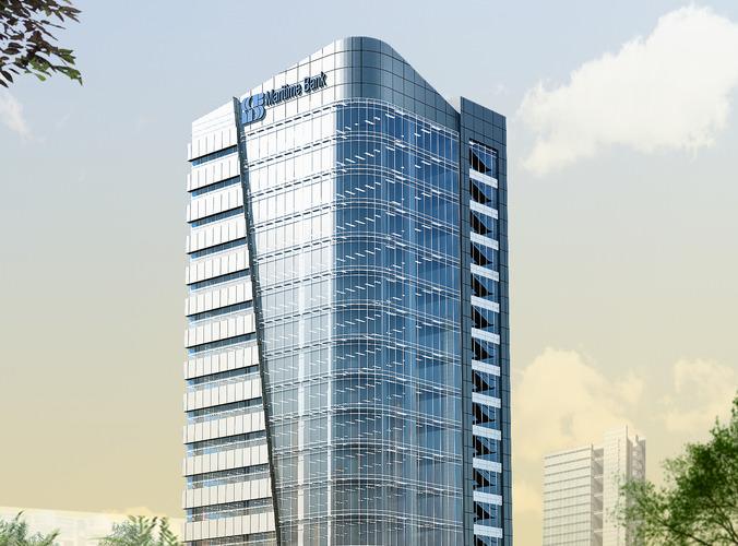 3d models skyscraper bank building 3d model max obj for Commercial building design modern construction methodology