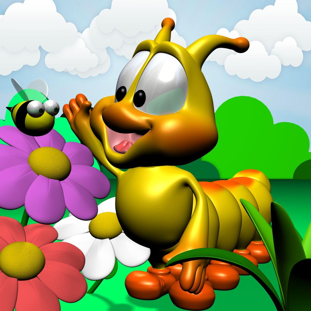 Cartoon Caterpillar Rigged