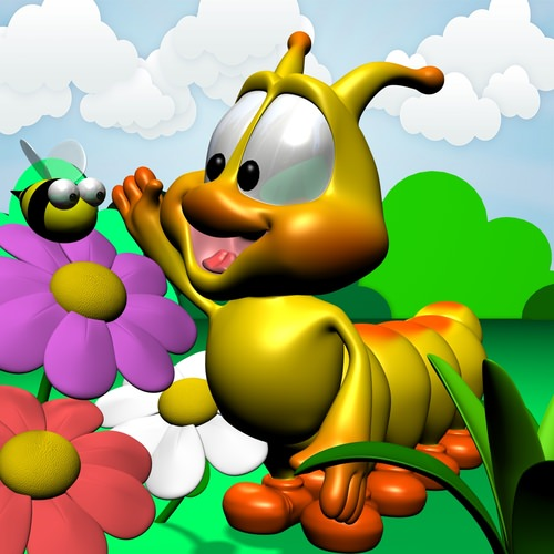 Cartoon Caterpillar Rigged3D model