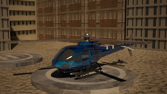 low poly euro helicopter3D model