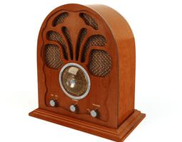 retro wooden radio 3d