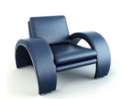 dark blue leather armchair with aluminium base 3d model