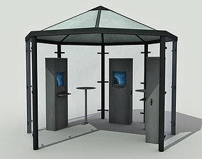 3D asset Multimedia Kiosk - Low Poly
