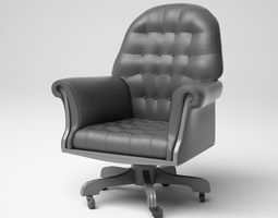 Black Cushioned Arm Chair 3D model