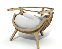 3D White Cushioned Chair With Wood Frame