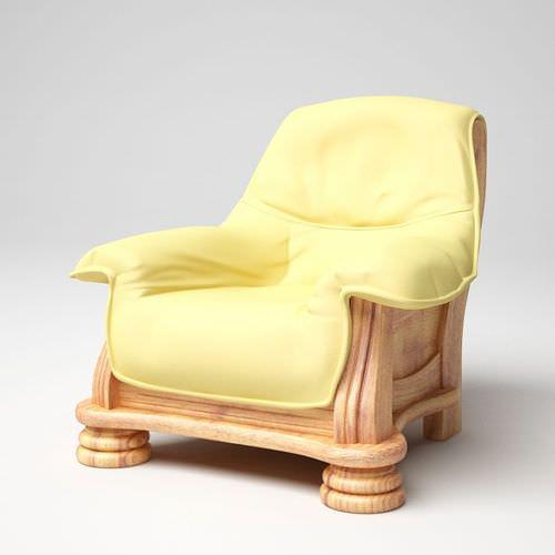 Modern Wooden Leather Armchair3D model
