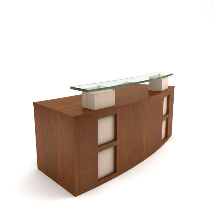 Modern wooden receptionist desk 3d model for Table 3d model
