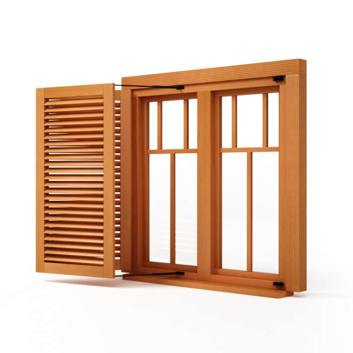 Wooden window shutter 3d model for Latest home window models