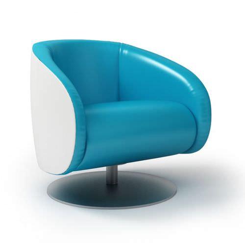 Stylish Blue Leather Armchair3D model