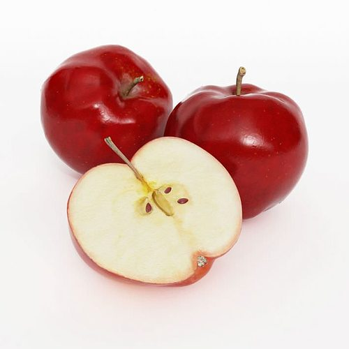 two and a half red apples 3d model obj mtl 1