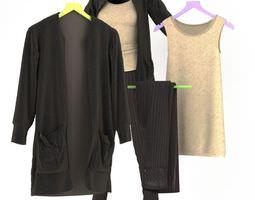 dress and pant suit set 3d model