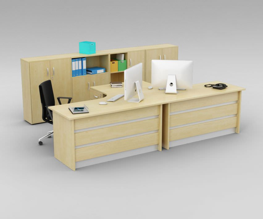 Two person office desk with matching cabinets 3d model - Two person office desk ...