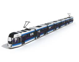 silver and blue tram 3d