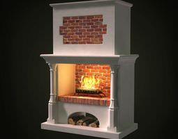 3d brick wall gas powered fireplace
