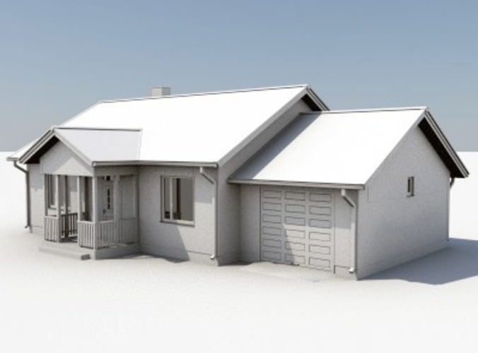 3d model one story house 04 for Large one story house