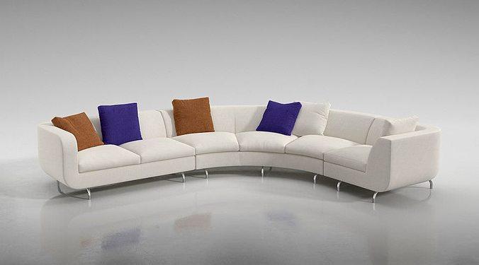 curved sofaset   furniture 3d model obj mtl 1
