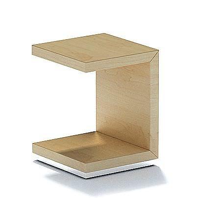 C Shape Natural Wood Side Table 3d Model 1