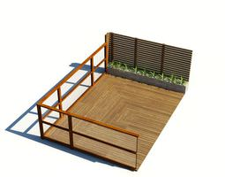 Wood Patio With Privacy Fence 3D Model