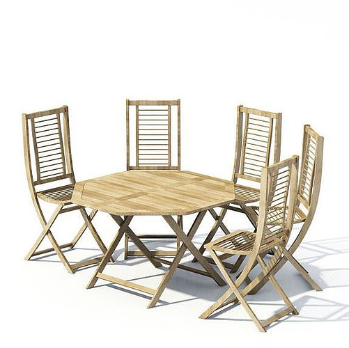 Wooden dining set with a table and five chairs 3d model for New model wooden dining table