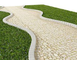 White Cobblestone Path 3D model