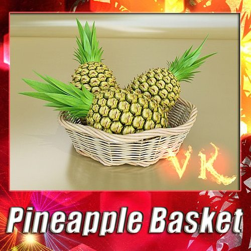 pineapples in wicker basket 10 3d model max obj mtl 3ds fbx mat 1