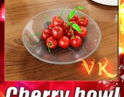 3D model Cherries in Glass Bowl High Res