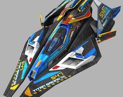 racing scifi ship 3d model game-ready