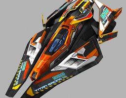 scifi racing-ship 02 low-poly 3d asset