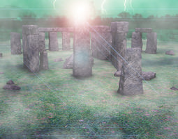 stone henge vray scene 3D