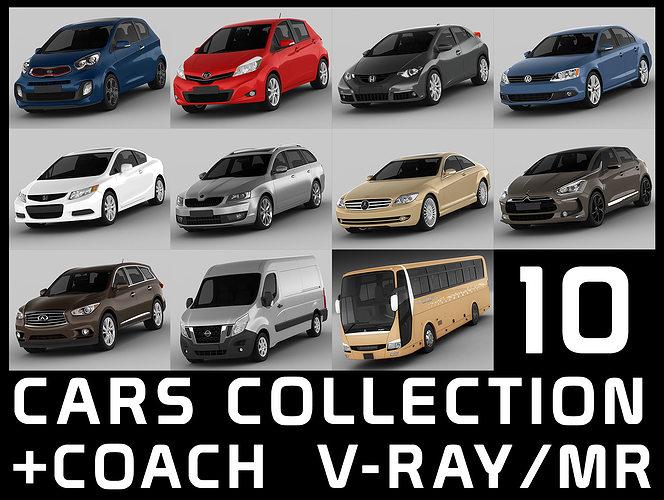 10 cars collection coach 3d model max obj mtl 3ds fbx 1