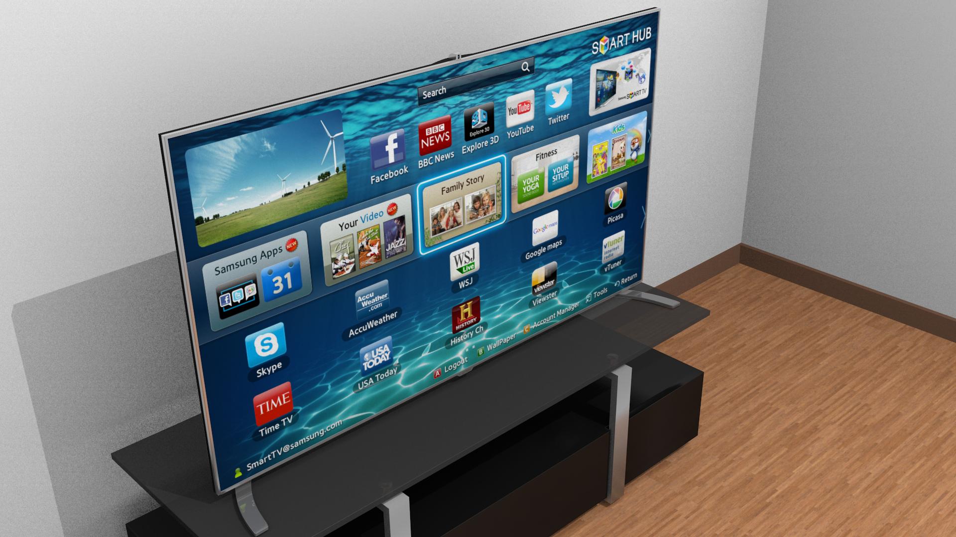Samsung Smart TV 3D Model obj fbx blend dae CGTrader
