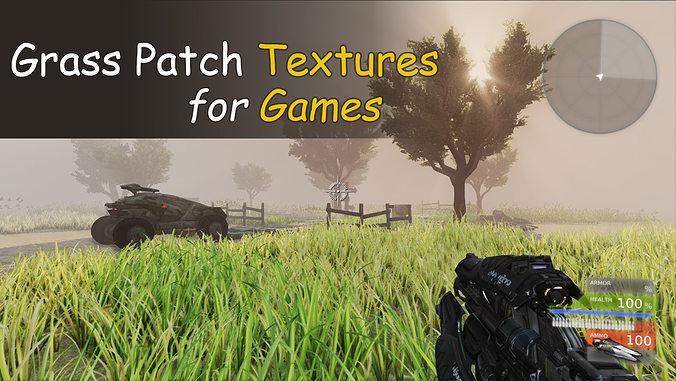 grass patch textures for games 3d model low-poly max obj fbx mtl tga 1
