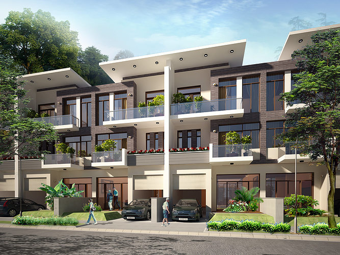 3d models contemporary multi story house 3d model max for Exterior 3d model