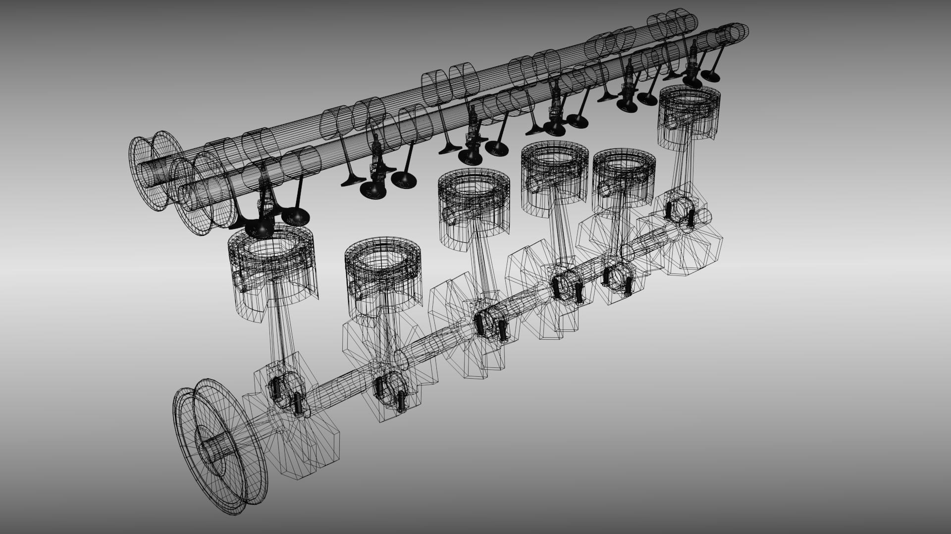 Animated Six Cylinder Engine 3d Model Fbx Blend