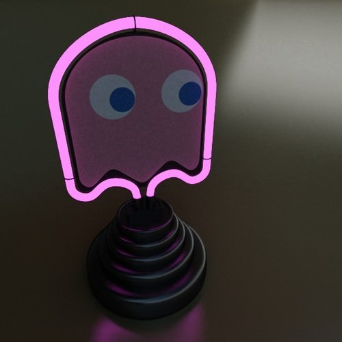 Table Lamp Pac Man Ghost 3D Model .max .3ds .fbx