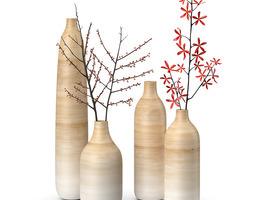 Wooden vases set 3D model
