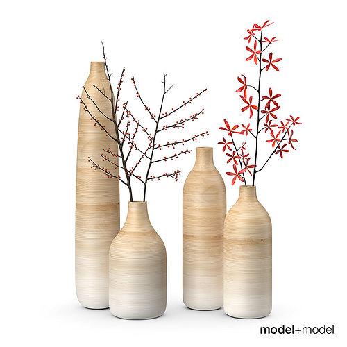 Wooden Vases Set 3d Model Max Obj Fbx Mat Cgtrader Com