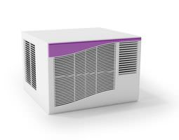 3d model white air conditioner with purple ribbon