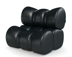 3d model black vinyl cushion armchair