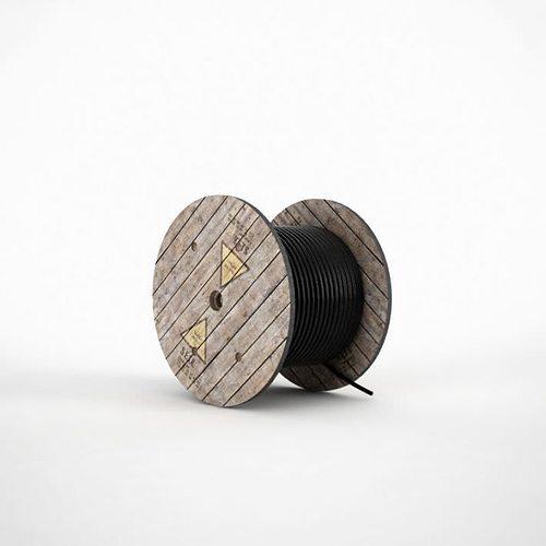 black construction rope wound on a wooden holder 3d model obj mtl 1