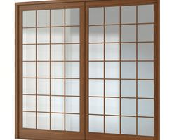 3d brown multi frmed wood window with glass