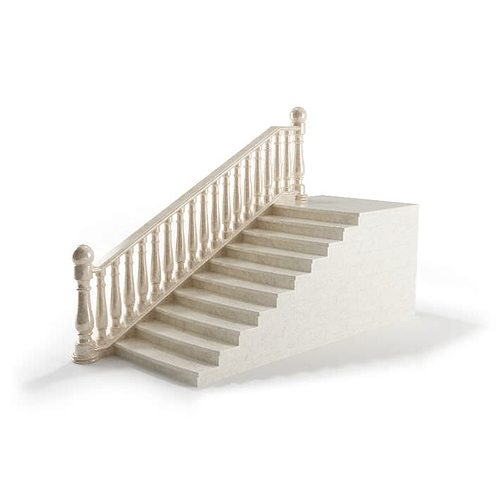 white railing with stairs 3d model obj mtl 1