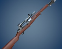 M1 Garand rifle with scope and bayonet 3D model