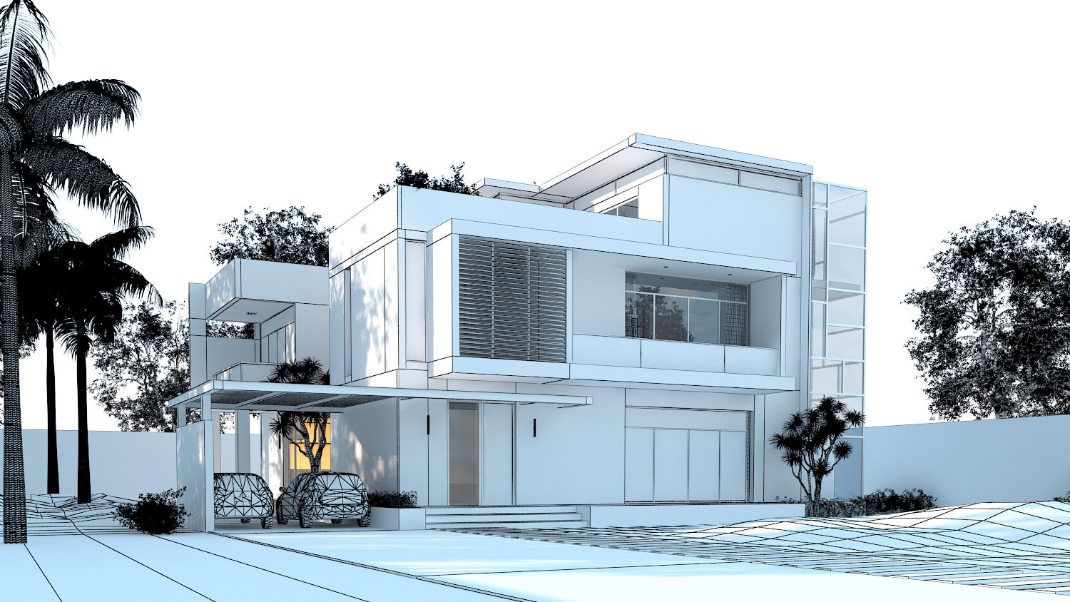 3d Models Luxury Contemporary House 3d Model Max Obj