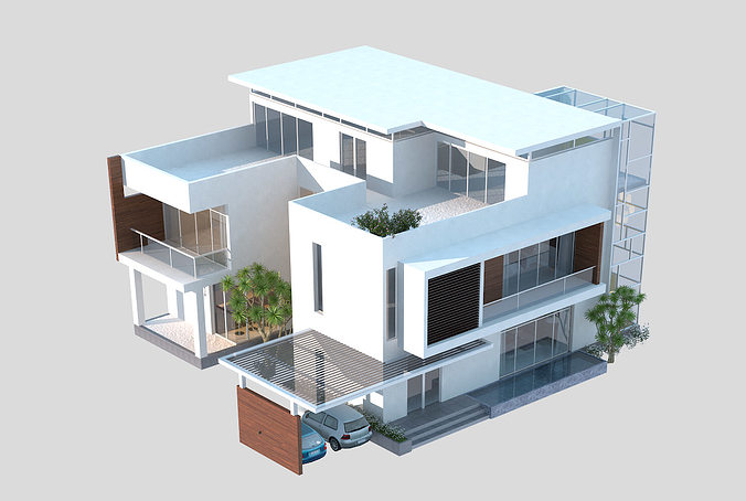 Captivating ... 3d Models Luxury Contemporary House 3d Model Max Obj Mtl Fbx C4d Tga 3  ...