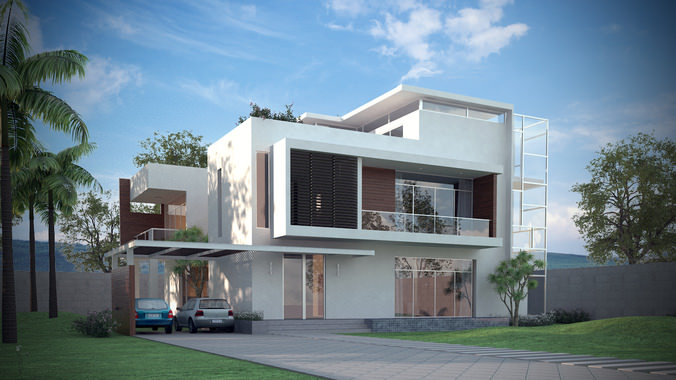 3D Models Luxury Contemporary House3D model