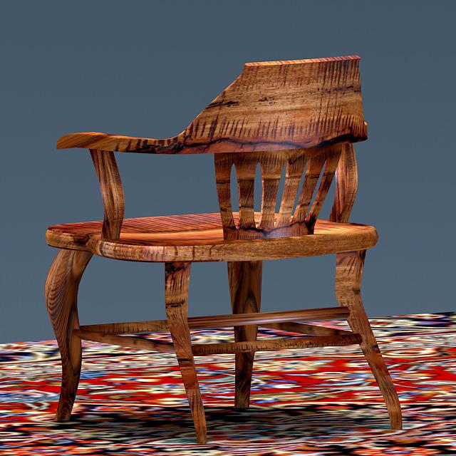 Antique Elm Wood Chair 3d Model Max