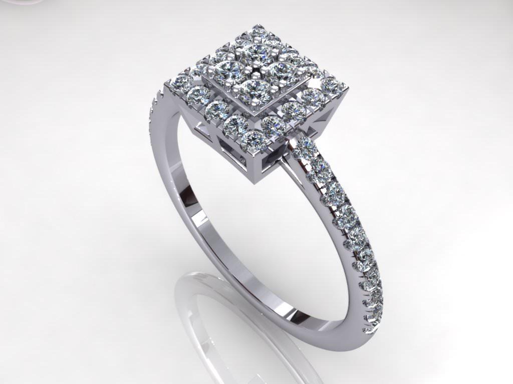 Pav Square Diamond Ring 3d Model 3d Printable Stl 3dm